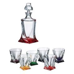 Quadro coloured - Whisky set for 6 pers., 6 pcs., Crystalite Bohemia