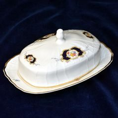 Butter dish for 250 g butter, Thun 1794 Carlsbad porcelain, Bernadotte Arms