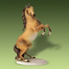 Brown Horse 20 x 9 x 30,5 cm, Pastel, Animal Porcelain Figures Duchcov