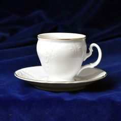 Coffee cup and saucer 150 ml / 14 cm, Thun 1794 Carlsbad porcelain, Bernadotte gold