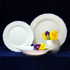 Plate set for 6 pers., White with blue line, Cesky porcelan a.s.