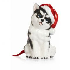 Holiday greetings husky ornament h=8cm, FRANZ Porcelain