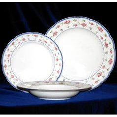 Plate set for 6 persons, Thun 1794 Carlsbad porcelain, ROSE 80283