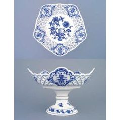 Dish pentagonal perforated with stand 24 cm, Original Blue Onion Pattern