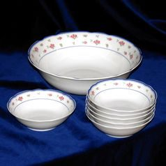 Compot set for 6 persons, Thun 1794 Carlsbad porcelain, ROSE 80283