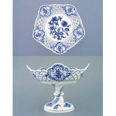 Dish on stand 24 cm, Original Blue Onion Pattern