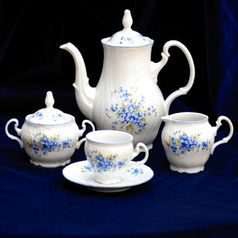 Coffee set for 6 persons, Thun 1794 Carlsbad porcelain, BERNADOTTE Forget-me-not-flower