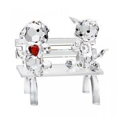 Doggie and Kitty on Bench 50 x 50 mm, Crystal Gifts and Decoration PRECIOSA