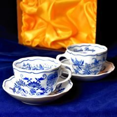 Cup  plus  saucer B 0,21 l coffee, 2 pcs. Prague Charles Bridge special edition, Original Blue Onion Pattern