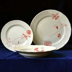 Plate set for 6 pers., Red Onion Pattern ECO on ivory, Cesky porcelan a.s.