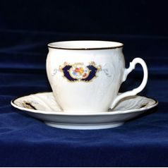 Coffee cup and saucer 220 ml / 16 cm, Thun 1794 Carlsbad porcelain, Bernadotte Arms
