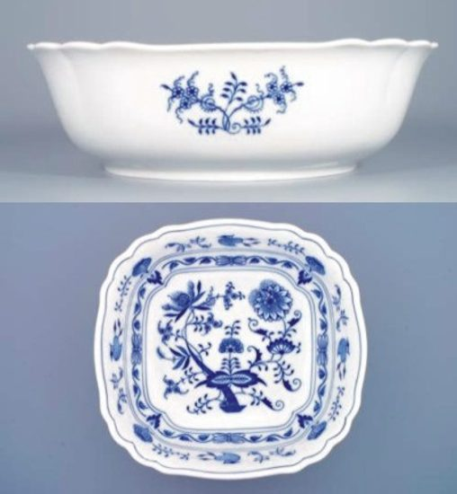 Salad bowl square 26 cm, Original Blue Onion Pattern