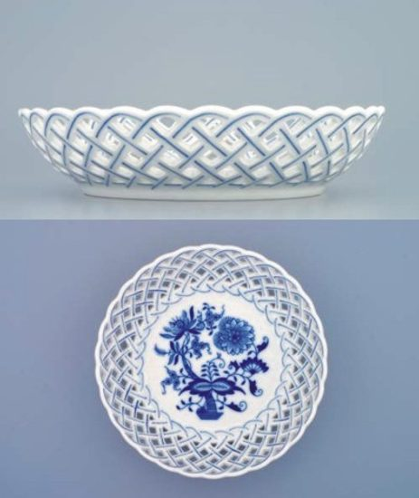Bowl round perforated 18 cm, Original Blue Onion Pattern
