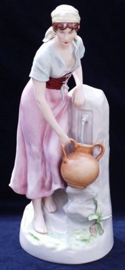 Woman carrying water 25 x 25 x 60 cm, Porcelain Figures Duchcov