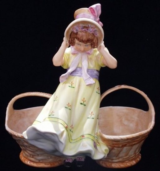 Girl with baskets 24 x 17 x 24 cm, Porcelain Figures Duchcov