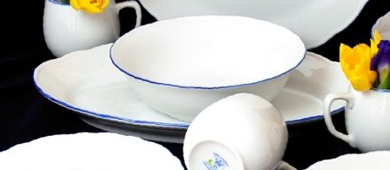 Dish oval flat 35 cm, White with blue line, Cesky porcelan a.s.