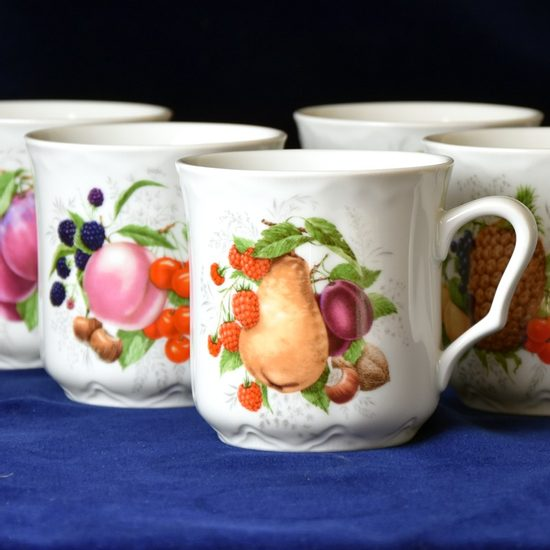 Mug Karel 0,27 l, 6 pcs., fruits, Cesky porcelan a.s.