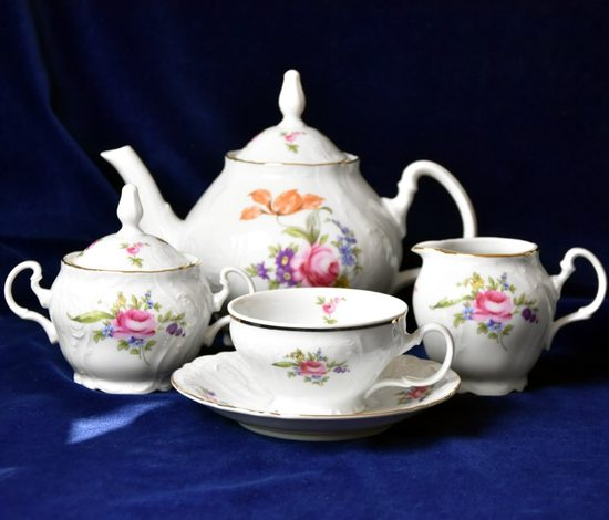 Tea set for 6 pers., Thun 1794 Carlsbad porcelain, Bernadotte meissen rose