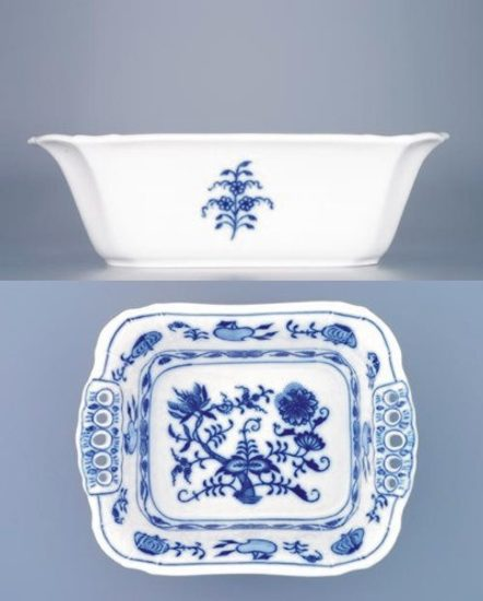 Pierced rectangular dish 19 cm, Original Blue Onion Pattern