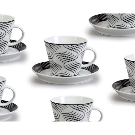 Cup 230 ml  plus  saucer 150 mm, Thun 1794 Carlsbad porcelain, TOM 30404 black