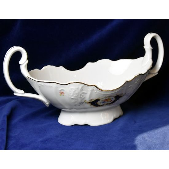 Fruit Bowl 34 cm two handles, Thun 1794 Carlsbad porcelain, Bernadotte Arms