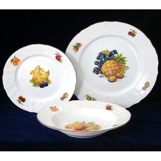 Fruits: Plate set for 6 persons, Thun 1794 Carlsbad porcelain, Bernadotte