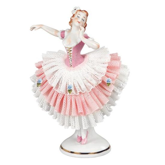 Dancer with lace 7 x 6,5 x 15 cm, Kurt Steiner, Porcelain Figures Unterweissbacher