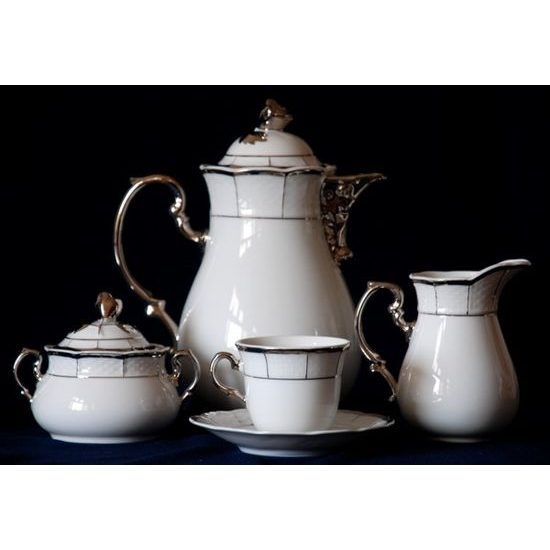 Coffee set for 6 persons, Thun 1794 Carlsbad porcelain, MENUET platina