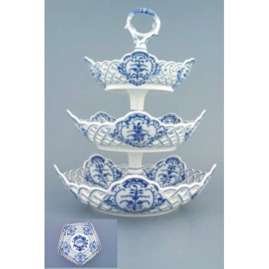 3-compartement dish perforated 19 plus 24 plus 28 cm, Original Blue Onion Pattern