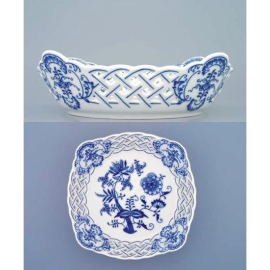 Dish square perforated 21 cm, Original Blue Onion Pattern