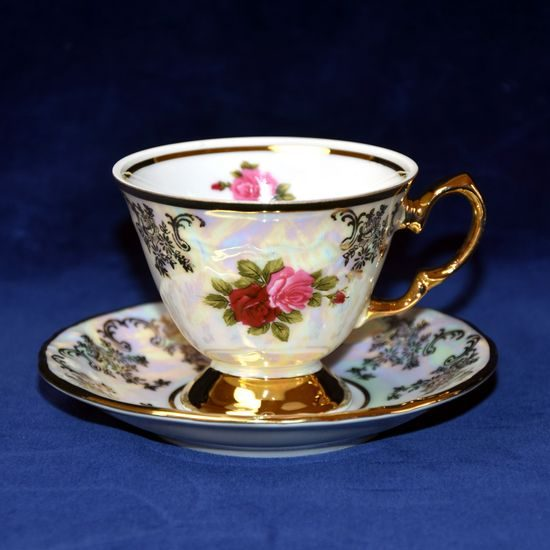 Cup coffee 110 ml  plus  saucer, Cecily (Roses) + gold, Frederyka Carlsbad