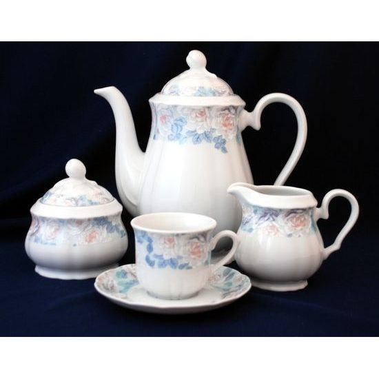 Coffee set for 6 persons, Thun 1794 Carlsbad porcelain, ROSE 80219