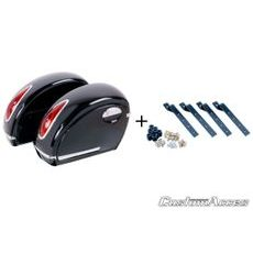 Rigid saddlebag CUSTOMACCES VOYAGER AMZ001N, melns pair, with KF universal support