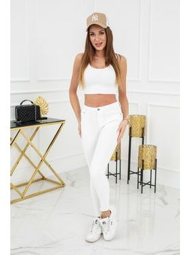 Jednobarevné skinny jeans v bílé barvě