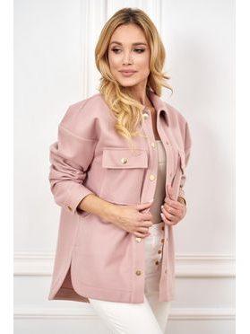 Košilový kabátek Shaket krátký, pudrová