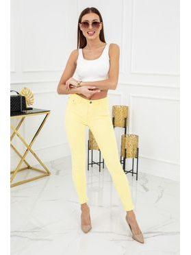 Jednobarevné skinny jeans ve žluté barvě
