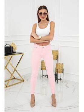 Jednobarevné skinny jeans ve sv. růžové barvě