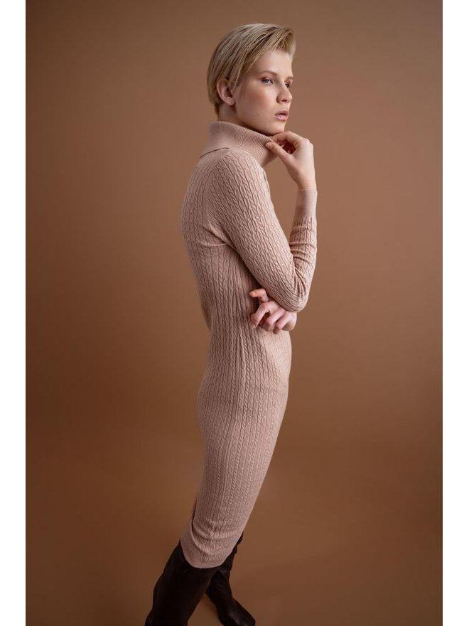Pleteninové šaty s rolákem, béžová