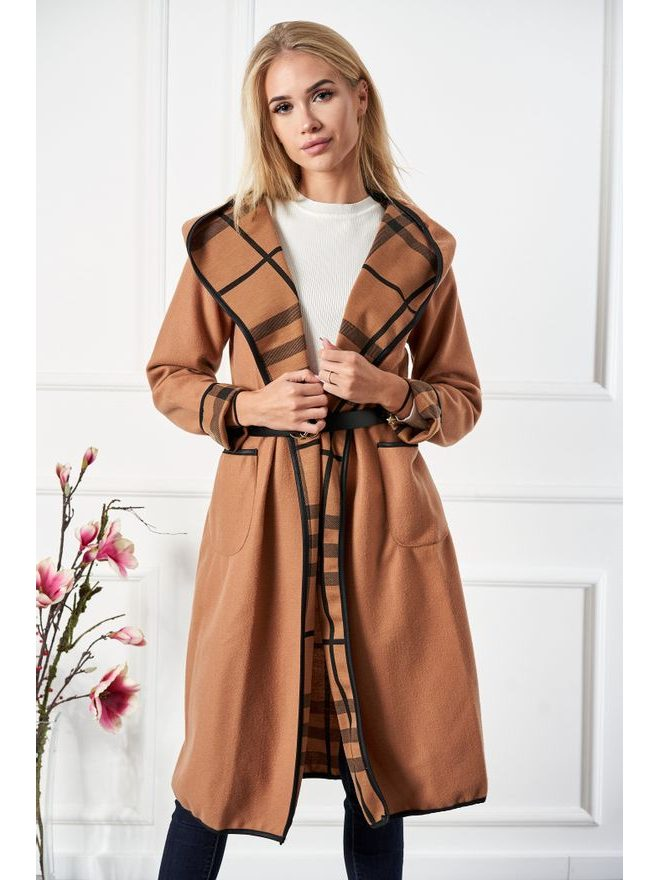 Kabát s károvaným límcem, velbloudí hnědá