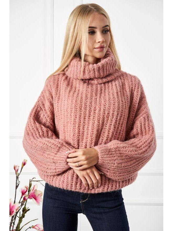 Krátký svetr s rolákem, starorůžová