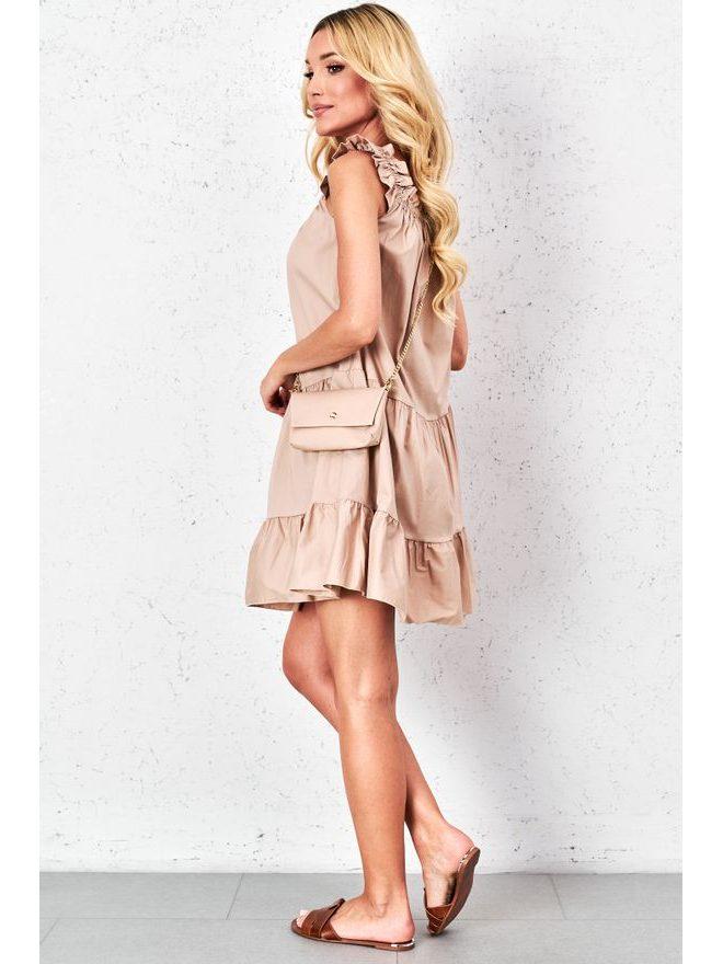Letní šaty s kabelkou, tm. béžová