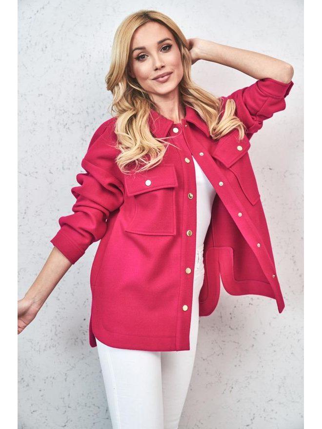 Košilový kabátek Shaket krátký, tm růžová