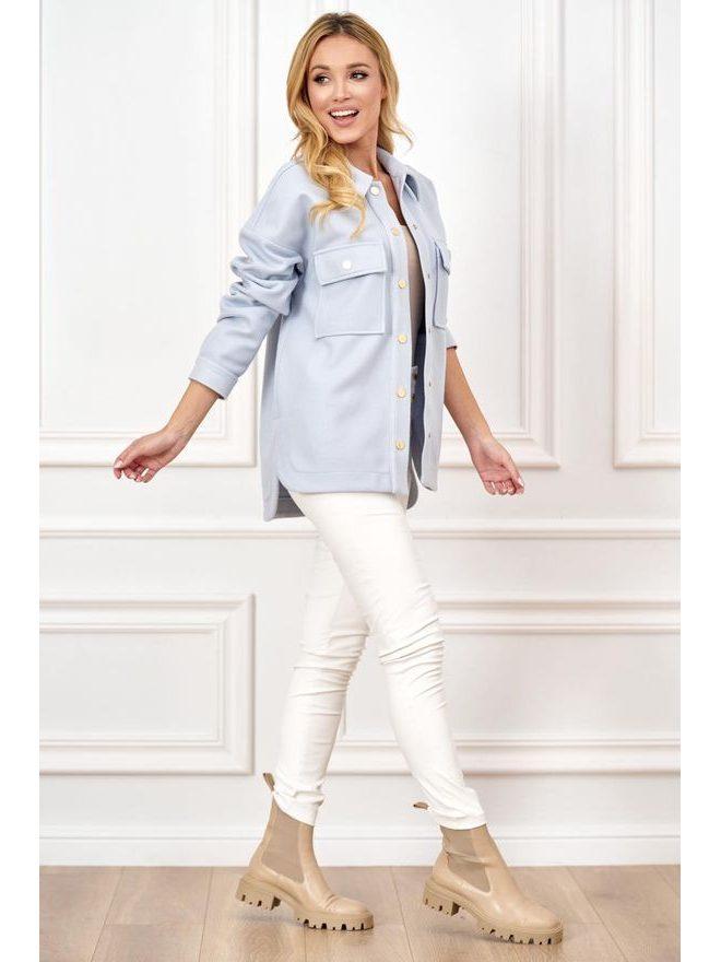 Košilový kabátek Shaket krátký, sv. modrá