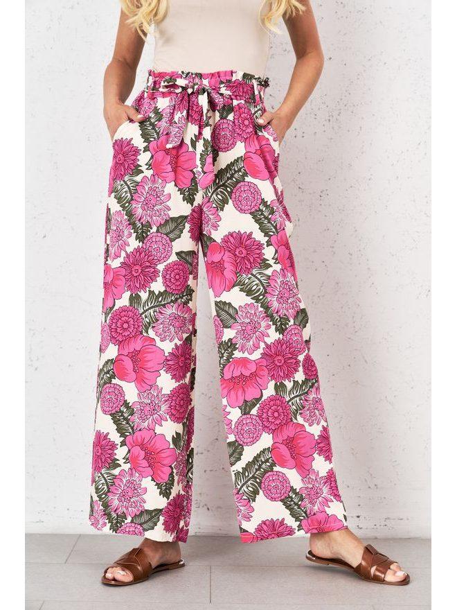 Široké viskózové kalhoty, růžová