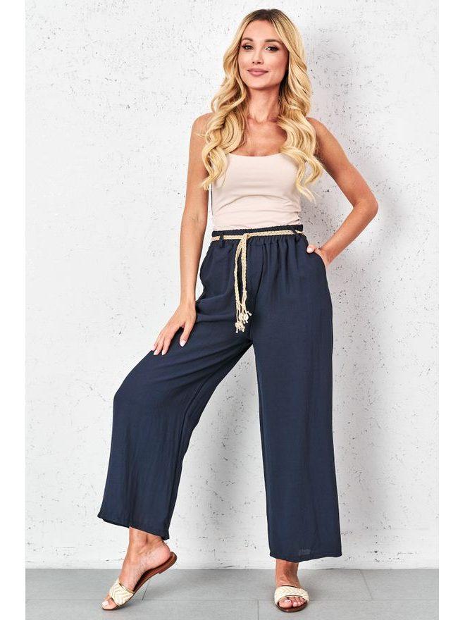 Volné kalhoty s ozdobným páskem, tm. modrá