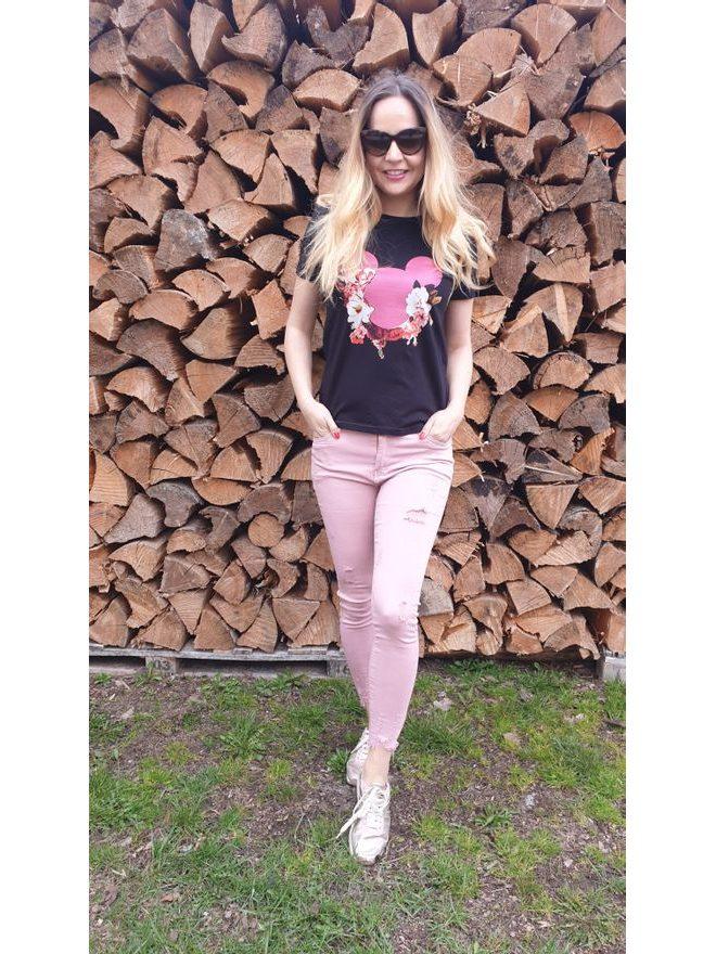 Skinny jeans ve starorůžové barvě