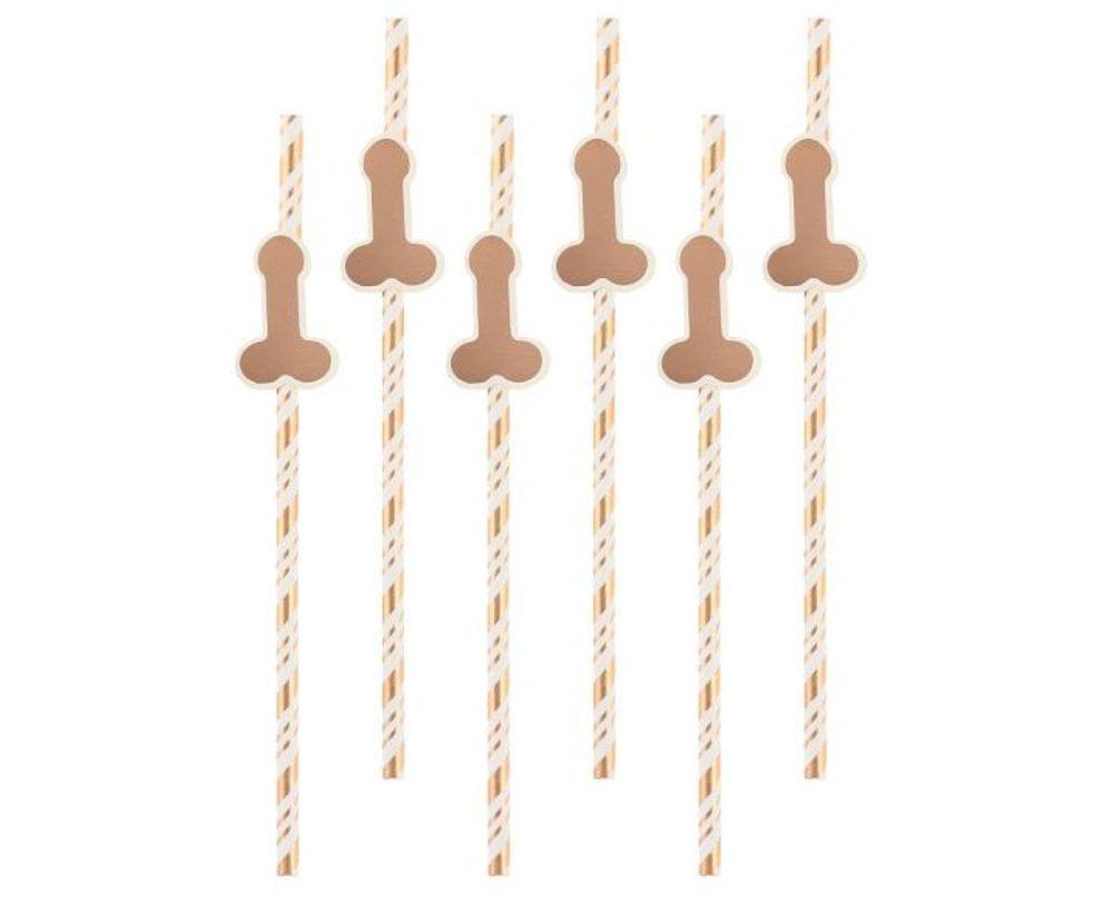 GoDan Slámky - papírové brčka s penisem ( růžovozlaté, rosegold ) 6 ks - Rozlučka se svobodou