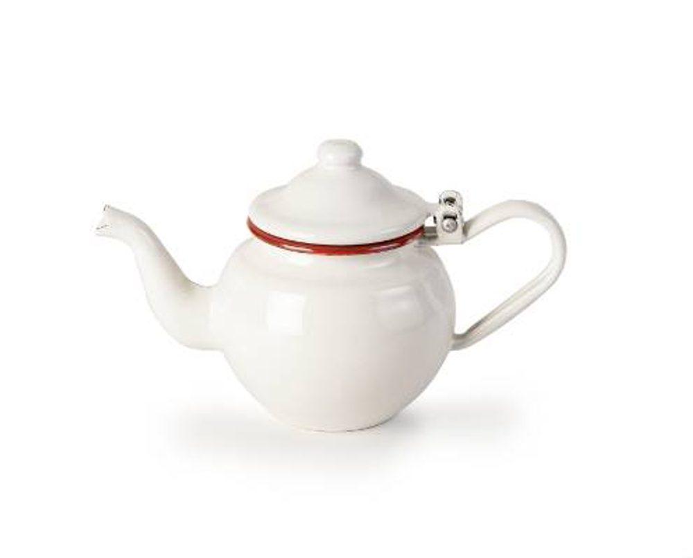 Ibili Konvička na čaj smaltovaná bílo červená 0,4l