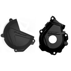 Clutch and ignition cover protector kit POLISPORT Crni