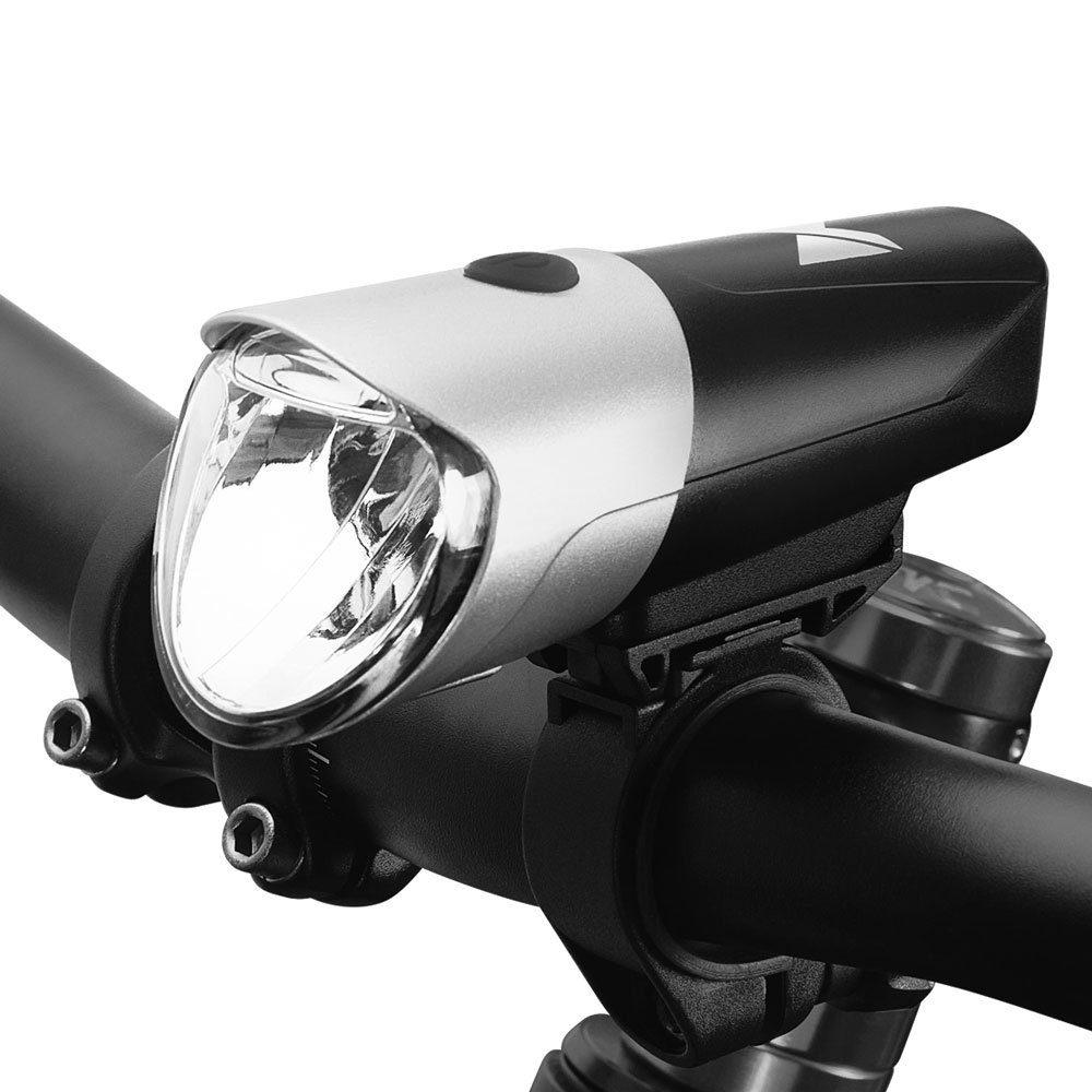Wozinsky přední micro USB světlo na kolo, černo-stříbrné (WFBLB1)